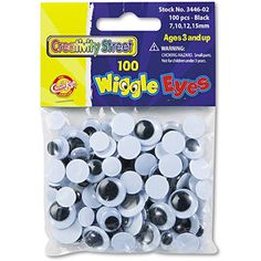 Creativity Street Wiggle Eyes Assortment, Assorted Sizes, Black, 100 Pack