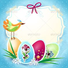 Easter Background with Custom Label