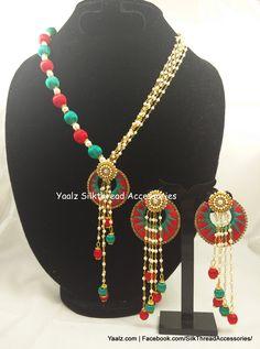Create it Silk Thread Earrings Designs, Silk Thread Bangles Design, Silk Thread Necklace, Silk Bangles, Beaded Necklace Patterns, Thread Jewellery, Silk Thread Jumkas, Princess Jewelry, Accesorios Casual