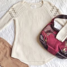 HP 1/29H&M Studded Sweater Thick knit cream color sweater with tiny gold studs that make a chevron design on the sleeves. Worn a few times but still in excellent condition! H&M Sweaters Crew & Scoop Necks