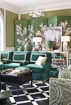 The greens and blues in this living room create a calm and restful feeling. From One Kings Lane