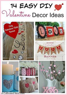 14 Easy DIY Valentine's Day Decoration ideas that anyone can make. Lots of cute & creative ideas for your home! Easy Valentine's Day Crafts, Valentine's Day home decor ideas Valentine Day Love, Valentines Day Party, Valentine Day Crafts, Diy Valentine's Day Decorations, Valentines Day Decorations, Decor Ideas, Craft Ideas, Decorating Ideas, Diy Ideas