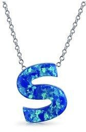 Bling Jewelry Synthetic Blue Opal .925 Silver Letter S Pendant Necklace.