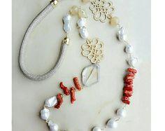 Collana di perle, collana, collana di perline, gioielli spiaggia, collana lunga, collana di corallo, dichiarazione collana, gioielli in pietre dure moglie