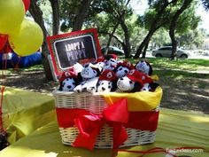 Pictures from Parker's Birthday - Fire Truck/Fireman themed party. I love this idea - adopt a Dalmatian (stuffed) puppy. Girl First Birthday, Third Birthday, 4th Birthday Parties, Birthday Fun, Birthday Ideas, Puppy Birthday, Fireman Party, Firefighter Birthday, Fireman Sam