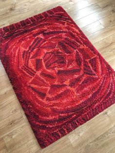 Items similar to Vintage Swedish ryamatta rug by Marianne Richter called Rosenkalla circa pure wool on Etsy Mid Century Interior Design, Mid-century Interior, Rya Rug, Carpet Design, Rugs On Carpet, Carpets, Bed Covers, Rug Making, Printing On Fabric