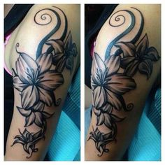 Awesome black and white flower tattoo