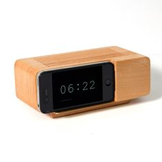 Beech Wood Cock Stand -  Transforms iPhone or iPod Touch into an alarm clock, when inserted horizontally.