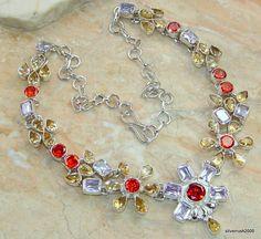 Rare Rainbow Wreath Multigem Sterling Silver necklace price: $192.19  #Popular  #Jewelry  #Fashion