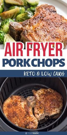 Easy Air Fryer Pork Chops, fabulously juicy and 100% delicious! these quick cooking pork chops are a weeknight favorite, works for keto, low carb, paleo and whole 30. www.noshtastic.com #airfryer #airfried #airfryerporkchops #airfriedporkchops #chops #keto #lowcarb #paleo #whole30