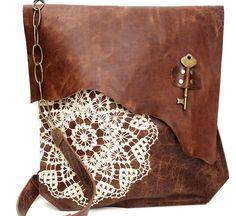 Boho Leather Messenger Bag with Crochet Lace & Antique Key - XL Deluxe MADE to ORDER. $310.00, via Etsy.