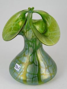 Unusual green loetz art glass vase