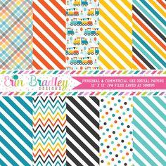 Boys Train Digital Paper Pack – Erin Bradley/Ink Obsession Designs