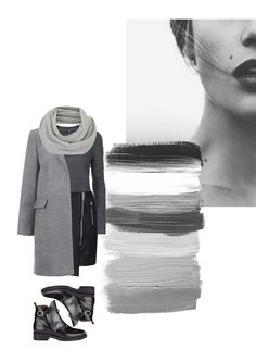 Vernez editorial collage. Fashion, outfit, style, inspiration, grey, black, leather, knitwear, coat, boots