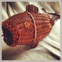 Vintage wicker fish basket by yosalvovendo on Etsy, $24.00
