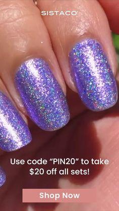 Essie Nail Colors, Pretty Nail Colors, Pretty Nails, Diy Nails, Swag Nails, Cute Nails, Polygel Nails, Coffin Nails, Purple Glitter Nails
