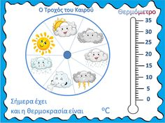Preschool Education, Teaching Science, Weather Calendar, Kindergarten Gifts, Greek Language, School Calendar, Back 2 School, English Activities, Environmental Education