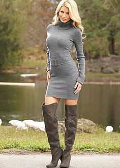 25 Stunning Sweater Dress Outfits For Winter Source by FashionCurrationAll Dresses Tight Dresses, Sexy Dresses, Fashion Dresses, Sweater Dress Outfit, Sweater Dresses, Turtleneck Dress, Dress Outfits, Style Feminin, Elegantes Outfit