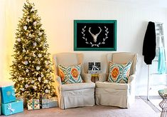 Love the turquoise - Christmas Home Tour