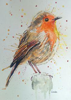 Watercolour Robin Watercolor And Ink, Watercolor Flowers, Watercolor Paintings, Watercolor Animals, Watercolors, Robin Tattoo, Watercolor Christmas Cards, Bird Drawings, Christmas Art