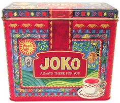 """depicts brightly coloured tropical scene and """"Always There For You"""" slogan, South Africa Tea Container, Coffee Tin, Tea Tins, Tea Packaging, Joko, Tin Toys, Advertising Signs, Tin Signs, Toy Boxes"""