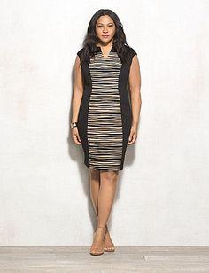 Plus Size Textured Scuba Dress