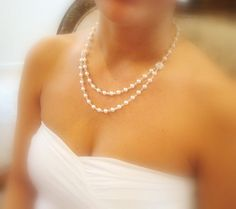 Bridal necklace pearl necklace with Swarovski by treasures570, $55.00
