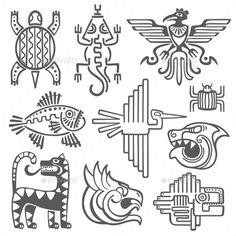 Historic Aztec Inca Vector Symbols Mayan Temple