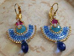 Egyptian Earrings Bead Woven by createdbycarla on Etsy