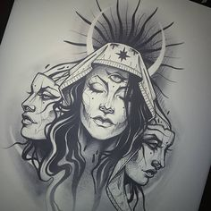 Chest Tattoo, Arm Band Tattoo, Tattoo Sketches, Tattoo Drawings, Blackwork, Arte Cholo, Hecate Goddess, God Tattoos, Witch Tattoo