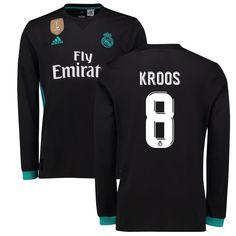 5e3054e82 Kroos Real Madrid adidas 2017 18 Away Replica Patch Long Sleeve Jersey -  Black Casemiro