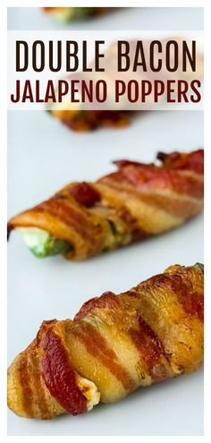 Double Bacon Jalapeno Poppers are not only wrapped in bacon, they are also stuffed with bacon and melted cheeses! There is smoky, delicious bacon in every single bite! Bacon Jalapeno Poppers, Jalapeno Popper Recipes, Stuffed Jalapenos With Bacon, Low Carb Appetizers, Yummy Appetizers, Appetizer Recipes, Snack Recipes, Low Carb Side Dishes, Low Carb Diet