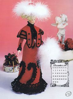 ANNIE'S CALENDAR DOLL SOCIETY CROCHET PATTERN Leaflet titled...    1996 EDWARDIAN LADY COLLECTION    Miss December 1996 -- Winter Walking Suit    7912    Annie's Attic  -  Copyright 1996    Crochet Pattern Includes:    Pillow Form   Inner Tube Base   Dress   Cape   Muff Pattern