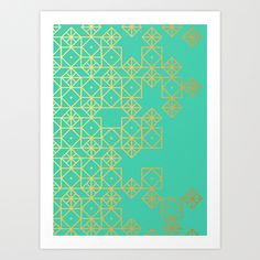 Geometric Turquoise Art Print by Cat Coquillette   Society6