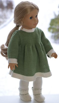 Dress, pants, coat with back pleat and bow, cap and shoes. Dress, coat and cap all make use of contrasting color for garter stitch borders. Knitting Dolls Clothes, Ag Doll Clothes, American Girl Crafts, American Doll Clothes, Crochet Doll Dress, Knitted Dolls, Christmas Knitting Patterns, Girl Dolls, Baby Knitting