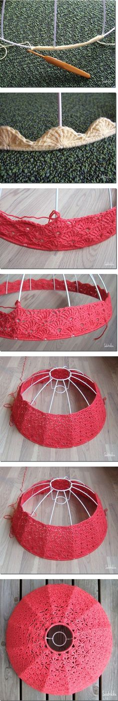 Crochet lampshade, step by step photo tutorial. Pantalla paso a paso Lampe Crochet, Crochet Lampshade, Crochet Diy, Crochet Home Decor, Crochet Crafts, Yarn Crafts, Crochet Projects, Knitting Patterns, Crochet Patterns