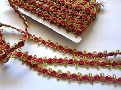 """Decorative Rose Braid Trim, Wine / Green, 3/4"""" inch, 1 Yard, For Doll Clothing, Home Decor, Accessories, Apparel, Victorian Crafts"""