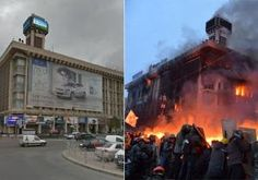 Before and after images of Kiev's Independence Square  - Before and after shots show devastation in Kiev's Independence Square