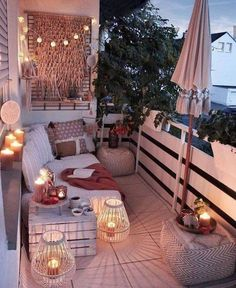From string lights to solar lights and beyond, we've got the best outdoor lighting ideas here. They're such an easy way to elevate and dress up your backyard, especially if you have a patio area. Small Balcony Design, Tiny Balcony, Small Balcony Decor, Outdoor Balcony, Patio Design, Outdoor Spaces, Outdoor Decor, Small Patio, Balcony Door