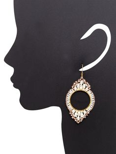 Freshwater Pearl & Swarovski Crystal Drop Earrings by Miguel Ases at Gilt