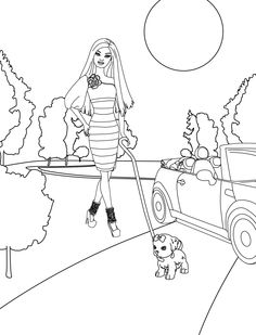 Customizable Barbie Coloring Page