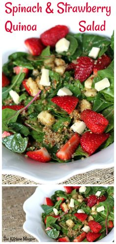 Decadent strawberry salad with brie cheese,quinoa kale, chard & spinach. Top wit… Decadent strawberry salad with brie cheese,quinoa kale, chard & spinach. Top with a sweet grainy mustard vinaigrette. Lunch Recipes, Salad Recipes, Dinner Recipes, Cooking Recipes, Healthy Recipes, Ensalada Thai, Clean Eating Snacks, Healthy Eating, Vegetarian Recipes