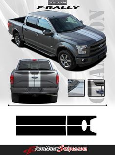 Vehicle Specific Style Ford F-150 Series Truck F-RALLY Split Center Racing Rally Striping Vinyl Graphic Stripe Decals Year Fitment 2015 2016 Contents Hood Graph