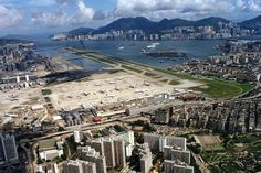 Kai Tak Airport in Hong Kong: Remembering the glory days Bilbao, Kai Tak Airport, British Hong Kong, International Airport, Aerial View, Paris Skyline, City Photo, Around The Worlds, Travel