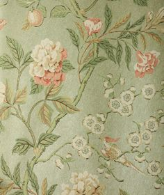 Emperors Garden Wallpaper Climbing floral in pink, green and cream with birds on a metalised green background