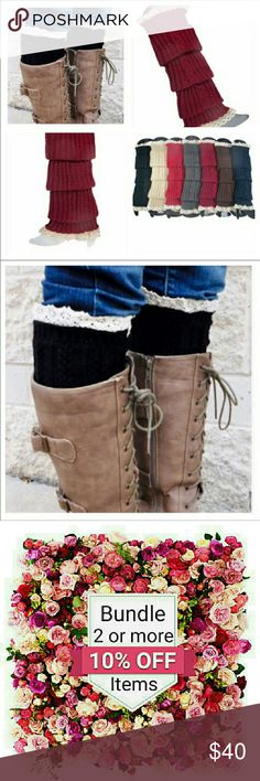 Coming Soon! Lace Leg Warmers / Boot Cuffs Super cute! Adorable lace trim and button detailed woven polyester boot cuff ankle and leg warmers! Available in black, cream, burgundy and gray. The burgundy and gray ones would be the PERFECT accessory while watching an Ohio State Buckeyes football game! Fashion BohoLoco Accessories Hosiery & Socks