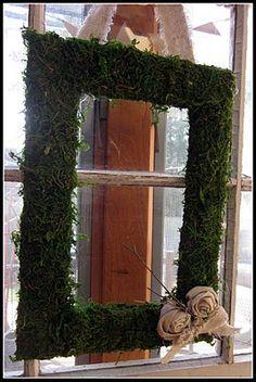 Frame Moss Wreath w/burlap rosettes Moss Wall Art, Diy Wall Art, Front Door Decor, Wreaths For Front Door, Christmas Crafts, Christmas Decorations, Holiday Decor, Burlap Rosettes, Picture Frame Wreath