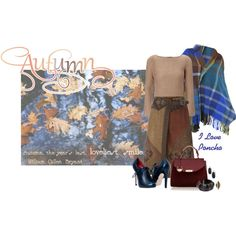 Brown, black and red wrap skirt +tan sweater +black stringate+wine bag+plaid blu,brown and green poncho  I love poncho by montse-gallardo on Polyvore featuring moda, rag & bone, Vivienne Westwood, Etro, Versace, NOVICA, Kendra Scott and Wolf & Moon