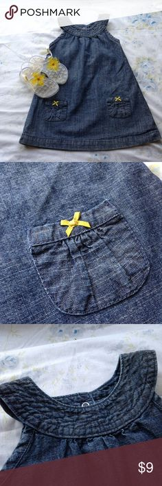 Carter's denim chambray pocket dress size 24 mo Sleeveless denim dress from Carter's. Would look cute with a white shirt underneath for Easter. Excellent condition with no stains, rips or condition issues. Carter's Dresses Casual