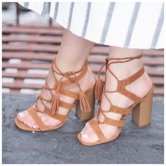 Add some comfort to your lace-up heels and opt for this chunky-heeled version #AsSeenOnMe